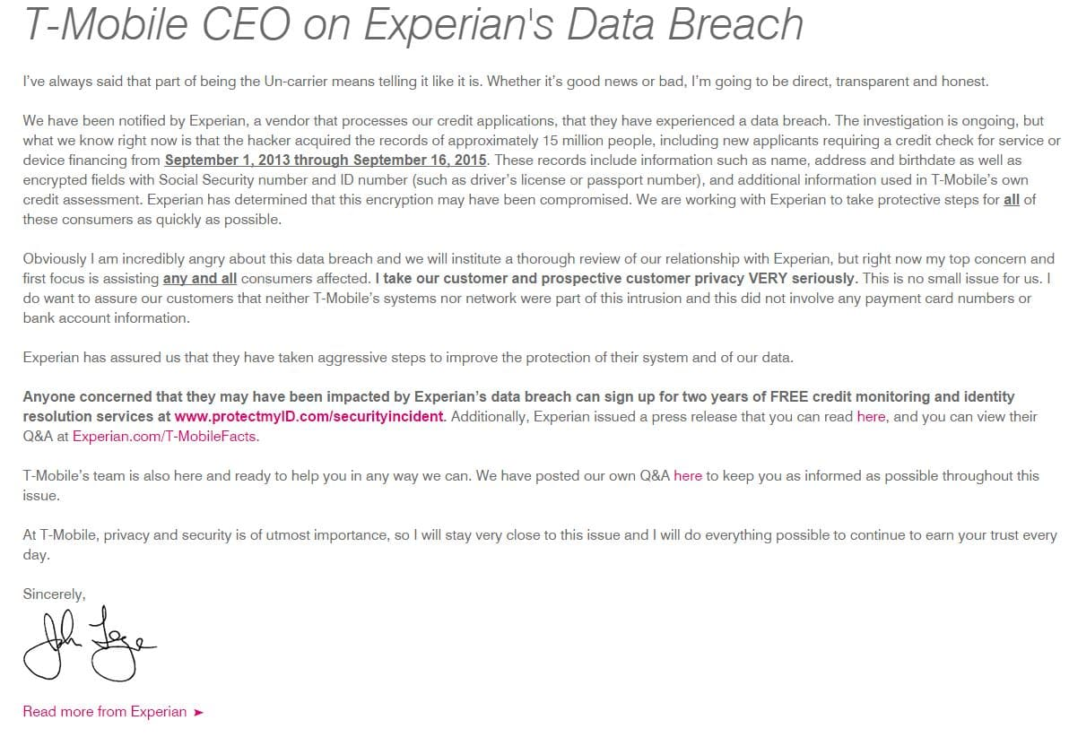 T-Mobile statement